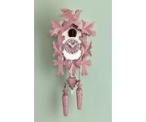 Trenkle Uhren Kuckucksuhr 35cm violett weiss lackiert mit Quarzwerk und Lichtsensor
