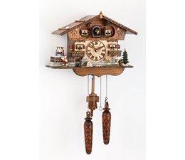 Trenkle Uhren Wunderschöne   Kuckucksuhr 27cm mit beweglichen Tanzfiguren  im Schwarzwald hergestellt mit Quarz-Laufwerk und Kuckuckruf mit Lichtsensor unter dem Zifferblatt ,sobald es dunkel wird schaltet der Kuckuckruf ab