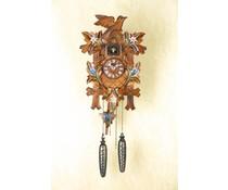 Trenkle Uhren Kuckucksuhr 35cm mit Edelweiss-Enzian Blumen handbemalt mit Quarzwerk und Lichtsensor