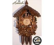 Hettich Uhren Orginal Schwarzwälder Kuckucksuhr mit 8 Tage Musik-Tänzer- Rechenschlagwerk mit sehr hochwertig verarbeitete Schnitzereien 47cm hoch und 40cm breit