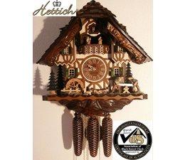 Hettich Uhren Orginal im Schwarzwald handgefertigte Kuckucksuhr im Schwarzwaldhausstil 40cm hoch mit beweglichen Doppelsäger -Tanzfiguren und Mühlrad