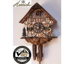 Hettich Uhren Sehr schönes Schwarzwaldgehäuse mitFachwerk Front und  beweglichem Wanderer