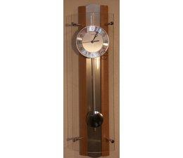 AMS Uhren Wanduhr Funkuhr Pendeluhr Design Neu AMS F5258/18 Buche Glas Aluminium