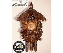 Hettich Uhren Orginal Schwarzwälder Kuckucksuhr mit 8 Tage Musik-Tänzer- Rechenschlagwerk mit sehr hochwertig verarbeitete Schnitzereien 47cm hoch und 40cm breit - Copy