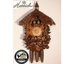Hettich Uhren Orginal im Schwarzwald handgefertigte Kuckucksuhr mit handgefertigte Figuren und Schnitzerei 47cm hoch und 40cm breit - Copy