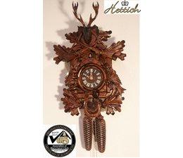 Hettich Uhren Orginal im Schwarzwald handgefertigte Kuckucksuhr 40cm hoch mit hangefertigter Jagdstück-Motiv Schnitzerei - Copy
