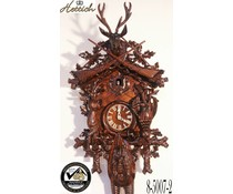 Hettich Uhren Original Black Forest Cuckoo Clock 8-day rack strike movement 95 Hunting Motif - Copy - Copy