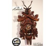 Hettich Uhren Orginal Schwarzwälder Kuckucksuhr mit Jagdstück-Eichhorn Motiv mit 8 Tage Rechenschlagwerk 65cm hoch - Copy