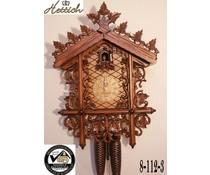 Hettich Uhren Orginal SchwarzwälderBahnhäusle  Kuckucksuhr mit 8 Tage Rechenschlagwerk mit sehr hochwertig verarbeitete Schnitzerei 52cm hoch und 36cm breit - Copy
