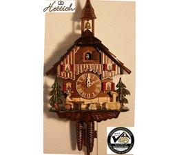 Hettich Uhren Orginal im Schwarzwald handgefertigte Kuckucksuhr 27cm hoch und 23 cm breit mit handgefertigte Holzteile