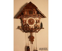 Trenkle Uhren Cuckoo Clock 30cm high 28cm wide handmade wooden shingle roof with quartz movement and moving wood chopper and mill wheel