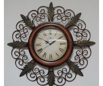 Hettich Uhren Nuevo reloj de diseño para el hogar del reloj de pared de hierro forjado con movimiento de cuarzo intrincado hecha a mano en el estilo clásico con movimiento de cuarzo Tamaño: HT02053 65x35cm