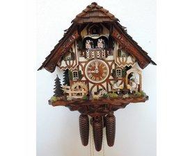 Hettich Uhren Orginal im Schwarzwald handgefertigte Kuckucksuhr im Schwarzwaldhausstil 40cm hoch mit beweglichen Biertrinker -Tanzfiguren und Mühlrad - Copy