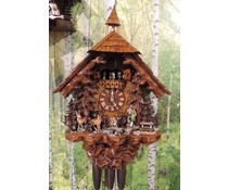 Hettich Uhren Original Black Forest cuckoo clock with 8 day music dancer movement with mobile hunters and dancers as well as the water wheel 75 cm high - Copy - Copy
