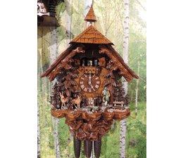 Hettich Uhren Orginal im Schwarzwald handgefertigte Kuckucksuhr im Schwarzwaldhausstil 75cm hoch mit beweglichen Jäger -Tanzfiguren und Mühlrad - Copy - Copy