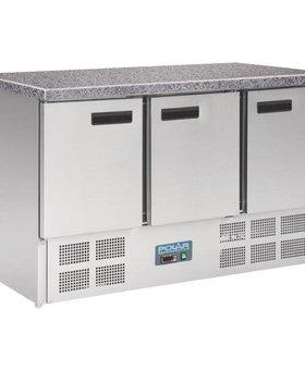 Polar Polar 368ltr GN1/1 3-deurs koelwerkbank met marmeren werkblad