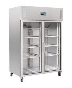 Polar Polar 1200ltr RVS glasdeur koelkast dubbeldeurs