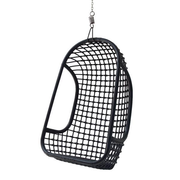 HK living rotan hang stoel zwart - Tutze