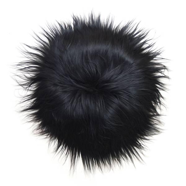 HK living IJslands bont stoel kleedje zwart - Tutze