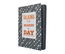 The gift label notebook talking to you