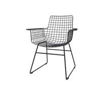 HK living Metaltråd stol med armlæn i sort