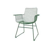 HK living Metaltråd stol med armlæn i smaragdgrønne kreationer