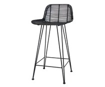 HK living rotan bar stoel zwart