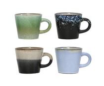 HK living keramieken 70's cappuccino mokken set van 4