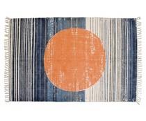 Storebror Rug bomuld print cirkel appelsin blå