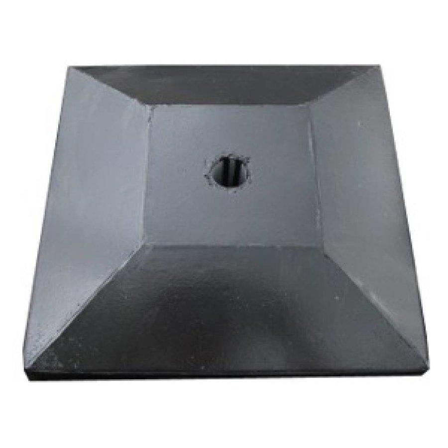 paalmutsen met een plat stuk + gat 35x44cm