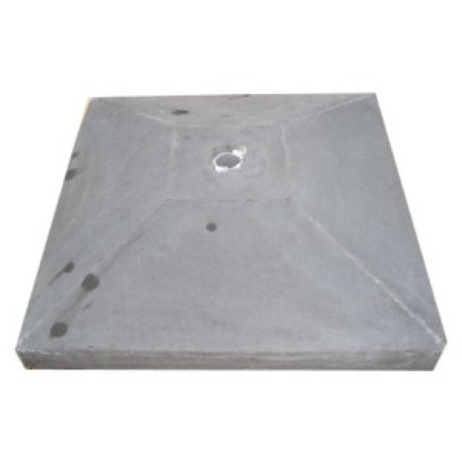 paalmutsen met een plat stuk + gat 20x20cm
