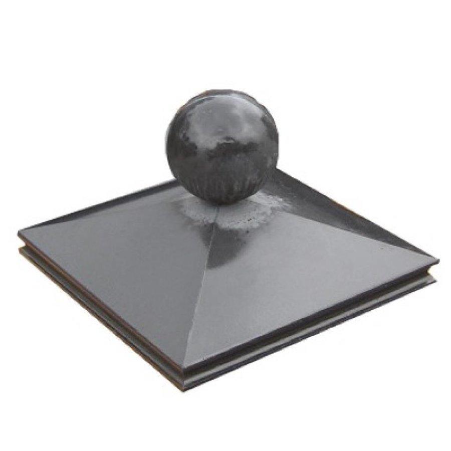 Paalmutsen met sierrand 65x65cm met een bol