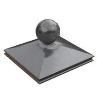 Paalmutsen met sierrand 44x44cm met een bol van 20cm