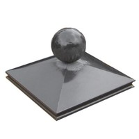 Paalmutsen met sierrand 44x44cm met een bol van 24cm