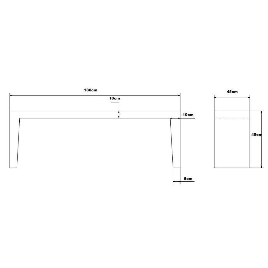 Betonnen Tuinbank grijs antraciet 180cm