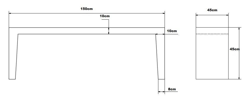 Betonnen Tuinbank grijs antraciet 150cm   Betondingen nl u00ae