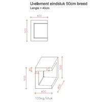 U-elementen beton eindstuk 50cm antraciet