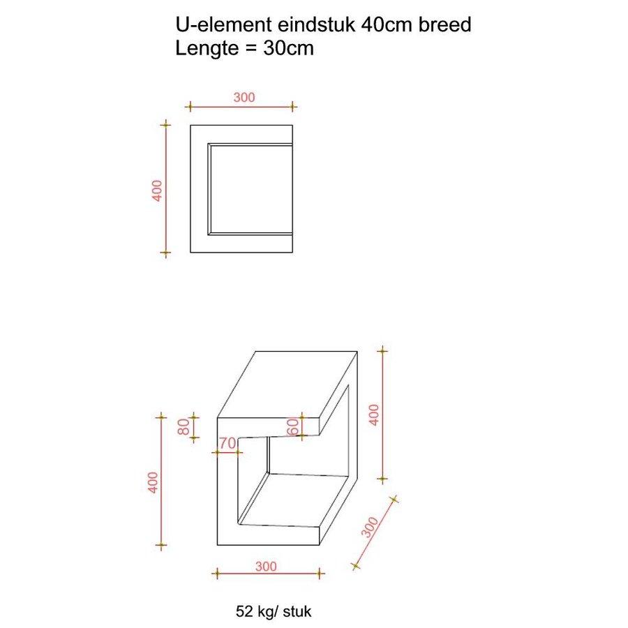 U-elementen beton eindstuk 40cm antraciet