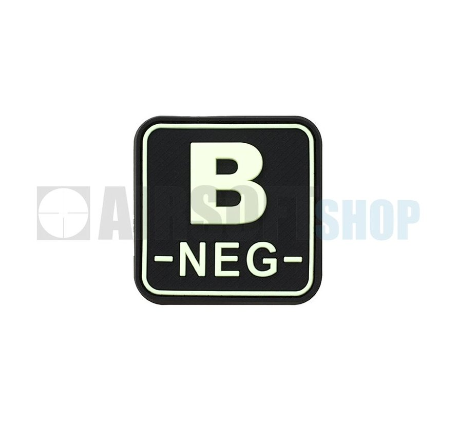 Bloodtype Square PVC Patch B NEG (Glow In The Dark)