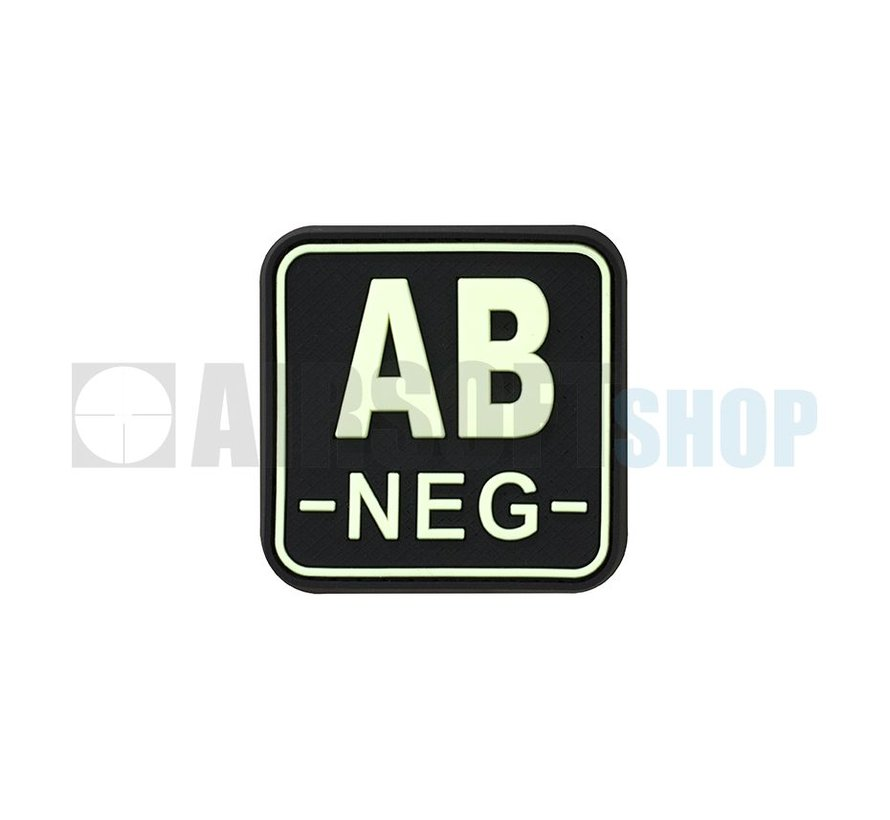 Bloodtype Square PVC Patch AB NEG (Glow In The Dark)