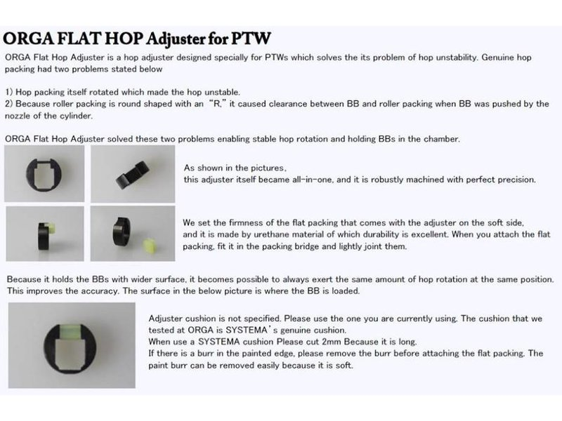 Orga PTW Flat Hop Adjuster + 2 Flat Packing