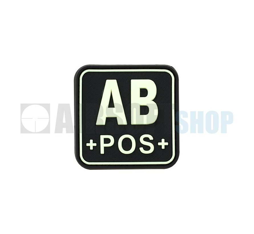 Bloodtype Square PVC Patch AB POS (Glow In The Dark)