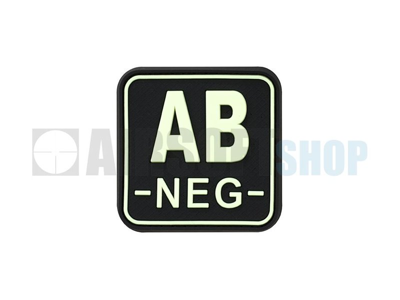 JTG Bloodtype Square PVC Patch AB NEG (Glow In The Dark)