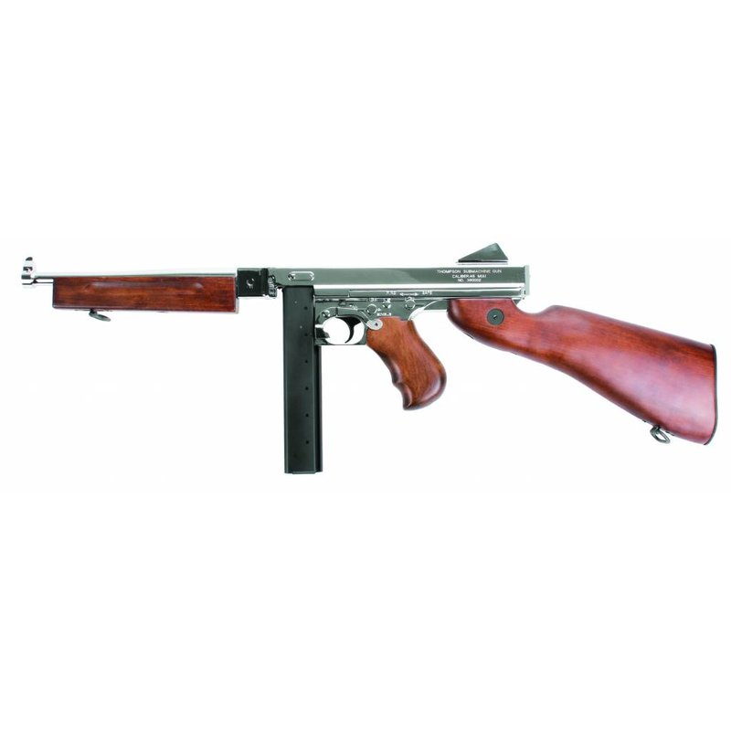 King Arms Thompson M1A1 Military REAL WOOD - SILVER