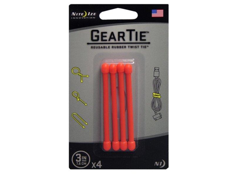 """Nite Ize Gear Tie 3"""" 4Pack (Orange)"""