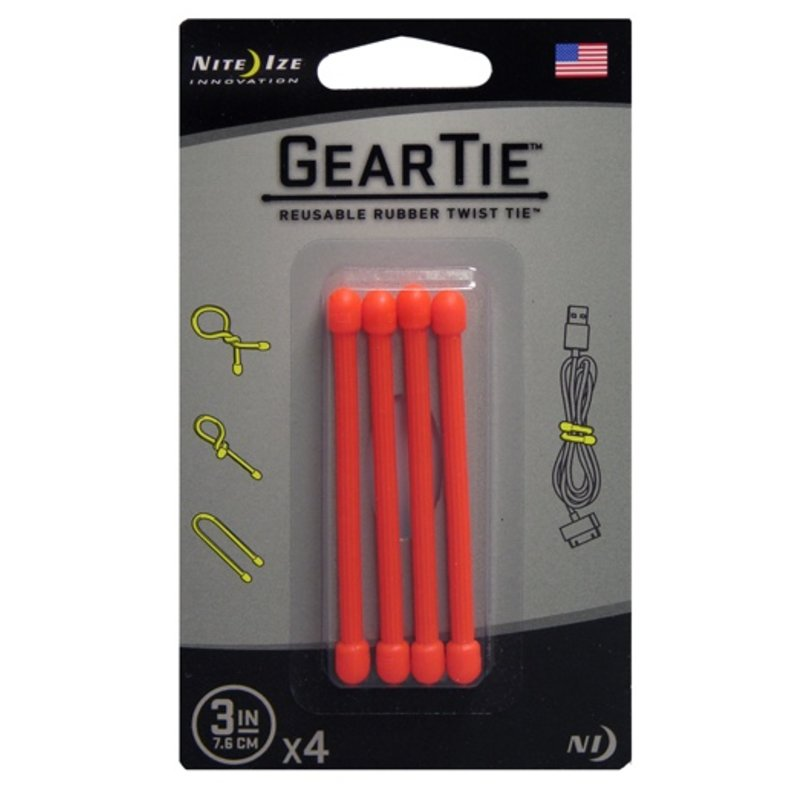 "Nite Ize Gear Tie 3"" 4Pack (Orange)"