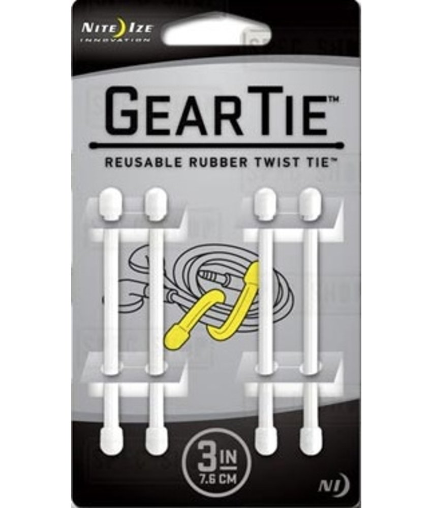 "Nite Ize Gear Tie 3"" 4Pack (White)"