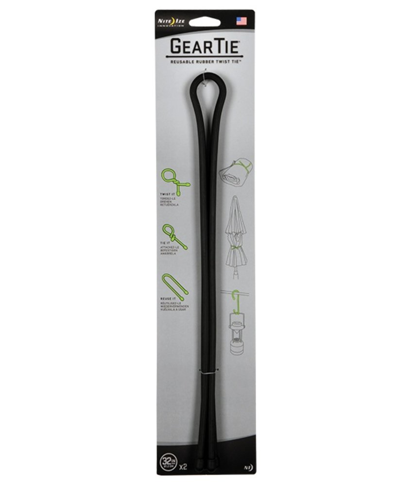 "Nite Ize Gear Tie 32"" 2Pack (Black)"
