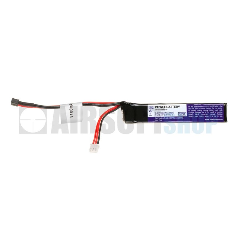 Pirate Arms LiPo 7.4V 1100mAh 15C Stick Type (Mini Deans)