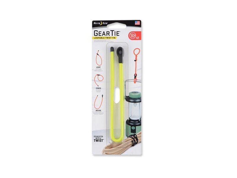 "Nite Ize Gear Tie Loopable 12"" 2Pack (Neon Yellow)"